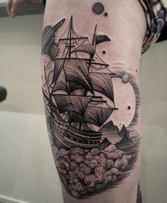 Baot tattoo on leg Arm Tattoo, Thigh Tattoo Men, Floral Thigh Tattoos, Tattoo Hals, Mini Tattoos, Mutterschaft Tattoos, Tribal Tattoos, Mens Side Tattoos, Half Sleeve Tattoos For Guys