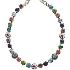 """Mariana Silver Plated Flower Shapes Swarovski Crystal Necklace, 18"""" Pastel 3044/1 88. Available at www.regencies.com"""
