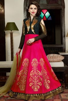 Rani Pink And Black Silk Anarkali Suit With Sequins Work. Designer Anarkali, Designer Salwar Kameez, Designer Gowns, Shalwar Kameez, Silk Anarkali Suits, Long Anarkali, Anarkali Gown, Salwar Suits, Lengha Dress