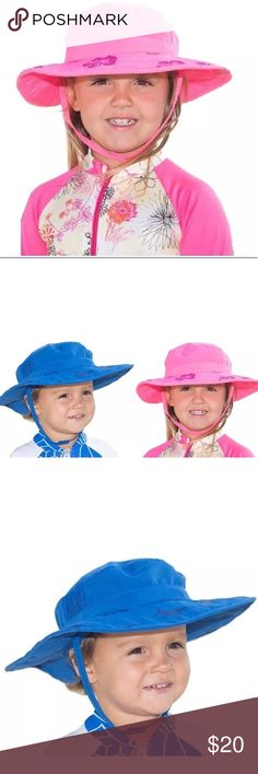 Kids Sun Protection Zone Hat Fits Most kids Fits most kids ages 3-10 Adjustable Sizing 50-54cm. For girls in Pink with Hawaiian Floral Print & boys with Blue with Fish design. Two hats ship with this ad. Choose one of each color or all one color. Perfect for pool boating playground beach recess or any other outdoor activity. UPF 50+ Blocks 99% of UV Rays. Sun Protection Zone Accessories Hats