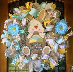 BunnyWreath, Easter Mesh Wreath, Bunny Mesh Wreath, Easter Door Hanger, Spring Mesh Wreath, Rabbit Wreath, Easter Wreath by Texascaseyscreations on Etsy