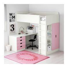 STUVA Loftsängskomb m 4 lådor/2 dörrar, vit, rosa vit/rosa 207x99x193 cm