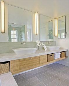 clean & fresh bathroom design : glass tiles, limestone (?) & bamboo (?) : great lights
