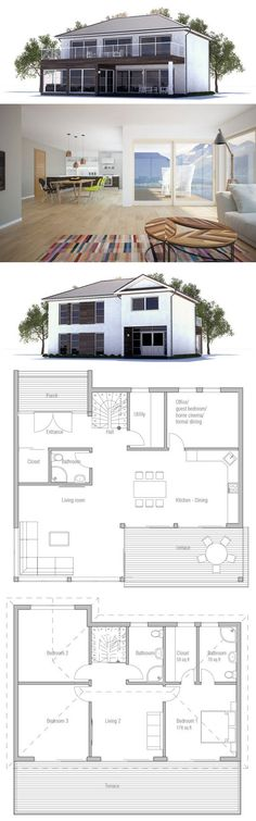 Small house plan with spacious living areas. Three bedrooms and two living areas.