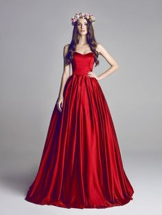 Charming Red Satin Prom Dresses, A-line Prom Dresses, Long Prom Dresses, Elegant Evening Dress, Ball Gowns
