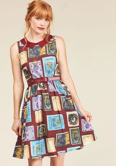 Whimsy Without End A-Line Dress in Bookworm by ModCloth - Multi, Red, Novelty Print, Print, Work, A-line, Sleeveless, Winter, Woven, Best, Exclusives, Private Label, Red, Long, ModCloth Label, Fall