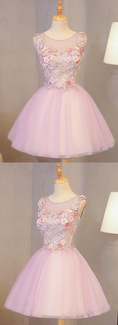 Cute pink tulle mini lace applique scoop neck halter party dress, bridesmaid dress from Sweetheart Dress, Prom Dresses For Teens, Modest Dresses, Trendy Dresses, Nice Dresses, The Dress, Pink Dress, Doll Style, Style Lolita, Wedding Party Dresses