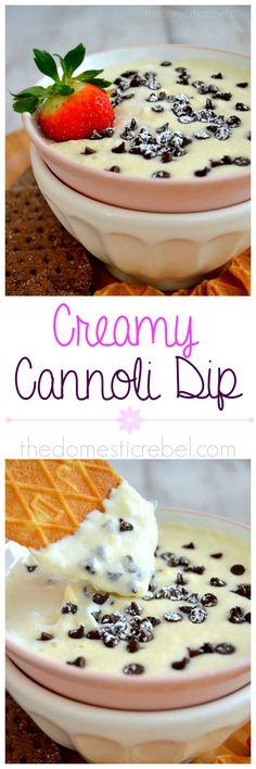 Creamy Cannoli Dip! Smooth, silky, creamy and rich, this dip tastes like cannoli cream in a convenient, dippable dessert! #cannoli #dessert