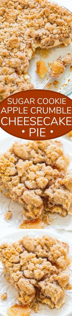 Sugar Cookie Apple Crumble Cheesecake Pie - A buttery sugar cookie crust, tangy cream cheese filling, tender juicy apples, and a crumble topping