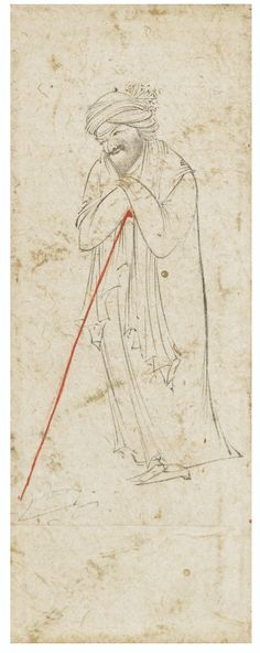 A Dervish Leaning on his Staff, style of Reza-i 'Abbasi, Persia, Safavid, circa 1600 | lot | Sotheby's