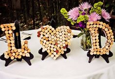 Another inventive way of using letters in your ceremony with inexpensive objects. Wedding decor with wine corks: Stephanie Ann Photography Wedding Themes, Wedding Decorations, Wedding Ideas, Wedding Crafts, Decor Wedding, Wedding Images, Wine Cork Wedding, Wedding Wine Theme, Bridal Shower Wine