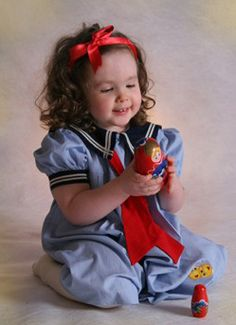 Vintage Blue Pinstriped Sailor Dress with Navy Collar for Babies, Toddlers, and Little Girls (SS0405AA) from www.grammies-attic.com #VintageSailorDress