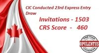 Good news for overseas skilled workers who have filed their applications under the Express Entry pool for Canadian PR. The Citizenship and immigration Canada has lately announced the results of 23rd draw of Express Entry on 18th December 2015. A total of 1,503 invitations were issued for those candidates who have scored minimum of 460 points in the comprehensive raking system.