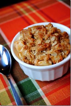 Individual Toffee Apple Crisp is sweet, and decadent yet perfectly portion controlled! | iowagirleats.com