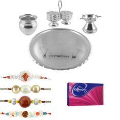Jpearls Raksha Bandhan Special Puja Thali Hamper   Silver Plated Puja Thali   Combo of 4 Pearl Rakhis  #silverplate #puresilver #silveraccessories #gifthamper #rakshabandhan #rakhigifts