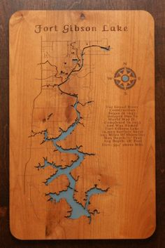 Fort Gibson Lake Oklahoma a portion of The Grand River wooden engraved map with interesting history carved into wood.    Each map has been created using a