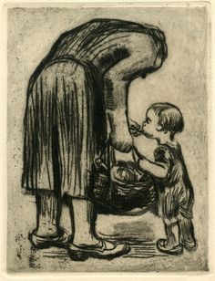 standing woman feeding her young child I love Kathe Kollwitz