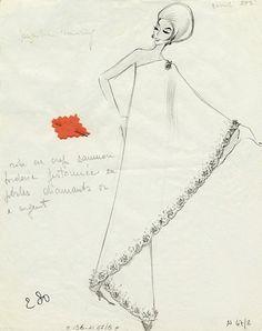 Fashion sketch by Valentino, 1962.