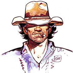Art by Jean Giraud a. Jean Giraud, Western Comics, Western Art, Character Design References, Character Art, Cowboy Draw, Moebius Art, Ligne Claire, Bd Comics
