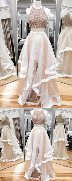 Prom Dresses 2018 #PromDresses2018, Two Pieces Prom Dresses #TwoPiecesPromDresses, A-Line Prom Dresses #A-LinePromDresses, Custom Prom Dresses #CustomPromDresses