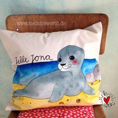 Seerobbe Kissenbezug aus Bio-Baumwolle für Babys und Kinder, Geschenk zur Geburt, Vorname: Jelle Jona (männlich)