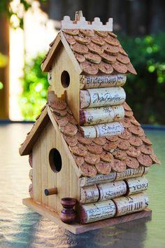 Birdhouse using recycled wine corks - by CarefullyCorked on etsy