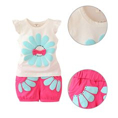 New Fashion Toddler Clothes Set Baby Girls Summer Bow Sunflower T Shirt+Pant Set kids Girls Casual Sport Cotton Vest +Pant Suit Toddler Fashion, Toddler Outfits, Baby Boy Outfits, Baby Girls, Kids Girls, Cute Girls, Pantalon Costume, Cotton Vest