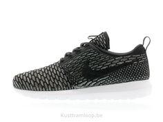 Nike Flyknit Roshe Run Noir / Noir-Sequoia-Armory Bleu Huarache Blanc