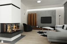 Salon - Styl Minimalistyczny - All Design Agnieszka Lorenc Living Room Grey, Living Room Interior, Concrete Interiors, Grey Interior Design, Modern Fireplace, Home Projects, House Plans, Bedroom, Furniture