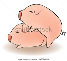 Two cartoon animal couple pigs having funny sex and breeding in isolated background, create by vector