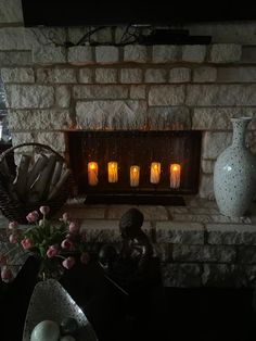 Perfect! Stone Fireplace Surround, Fake Fireplace, Mailbox Monogram, Lighted Branches, Flameless Candles, White Candles, Candlesticks, White Ceramics, Basement