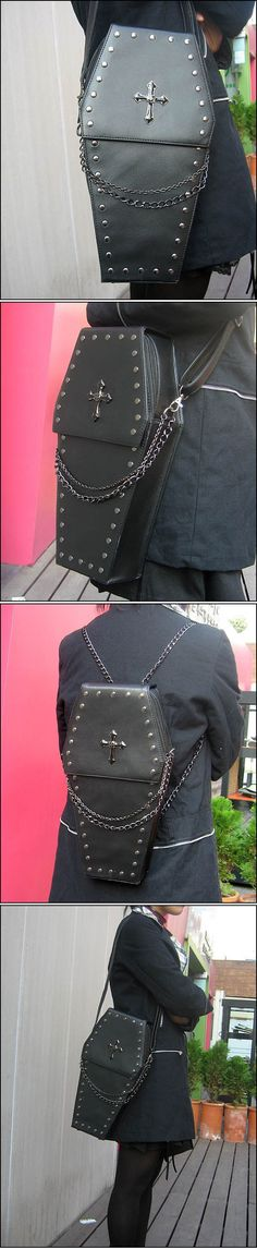 awesome gothic Punk visual Rock coffin shape handbag / backpack by http://www.polyvorebydana.us/gothic-fashion/gothic-punk-visual-rock-coffin-shape-handbag-backpack/