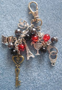 Unique handmade bag charm inspired by Fifty Shades of Grey 50 Shades of Grey.    Christian Grey. EL James. Handcuffs. Laters Baby.     Handmade by Crefftau Hendy.     #fiftyshades #jewellery #bags