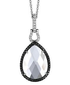 Dove's Jewelry White Topaz Black and White Diamond Pendant... love that horseshoe detail.