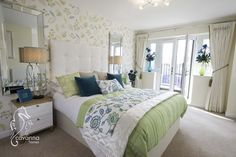 Turquoise and green double bed, new home, 4 bedroom townhouse.