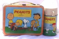 This is a old Peanuts and gang By Charles Schulz lunch box with the original thermos. The last date on the Thermos is from 1959. It is in good condition for a used lunch box that old. Does show some definate wear to the edges as well as a ding to the backside top corner. There is some paint chipping and rust spots on the inside. Nothing is broke on it. The handle and latch are still in perfect working condition. It's not pictured, but there is a comic strip that along the sides. c1959 $190