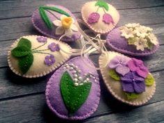 Felt Easter decor Lilac Easter Eggs Purple Easter ornaments