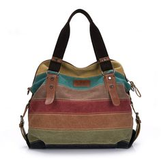 "Fablight Women's Multi-Color Stripes Canvas Shoulder Tote Bag/ Cross Body Bag/ Casual Handbag. Size info: (L)14.17"" x (H)14.56""x (W)4.72"" Weight : 1.65 (LB). Main material: Canvas. Removable and Adjustable Shoulder Strap. This Multi-function bag can be worked as a cross-body bag,a shoulder bag or a tote bag. Multi-pocket design is pretty convenient to compact a lot.Comfortably holds an iphone,iPad, iPad Mini, other tablet or a laptop 12"" and under. Effortlessly styles for different…"