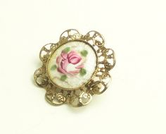 Vintage Pink Rose Guilloche Gold Filigree by WeLoveVintageJewelry, $12.25