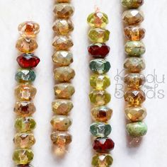 Czech Glass Rondelle Beads Terra Color Rondelle by KanduBeads