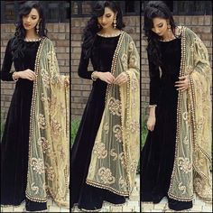Indian Bollywood Ethnic Designer Anarkali Salwar Kameez Suit & Traditional HBJP in Clothes, Shoes & Accessories, Women's Clothing, Other Women's Clothing Indian Attire, Indian Wear, Black Indian Gown, Pakistani Outfits, Indian Outfits, Fashion Week, Look Fashion, Fashion Online, Fashion Trends