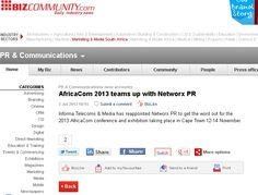 AfricaCom 2013 teams up with Networx PR Sustainability Education, Arts And Entertainment, News Stories, Science, Marketing, Science Comics