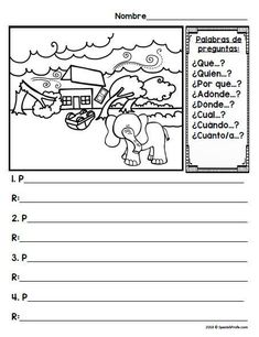 Practice writing questions and answers in Spanish while looking at picture prompts. Great for writer's workshop in Spanish, Daily 5, independent writing practice or as a part of your immersion or bilingual lessons. Practica de escribir preguntas y respues