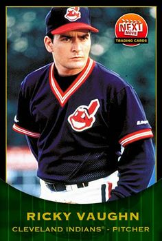 Charlie Sheen in Major League as Ricky Vaughn. Next Movie Trading Cards. Charlie Sheen, Baseball Movies, Baseball Cards, Baseball 2016, Famous Baseball Players, Cleveland Indians Baseball, Cubs Fan, Basketball Pictures, Good Looking Men