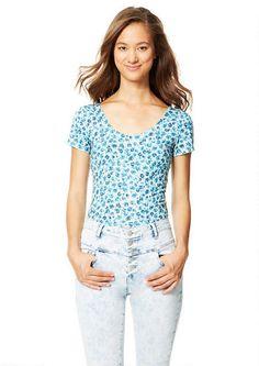 Allover Print Crop - Short Sleeves - Tops - Clothes - dELiA*s