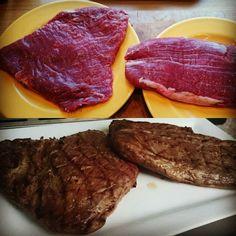 Flanksteak vor und nach dem grillen #bbq #flanksteak #foodblog #grillen