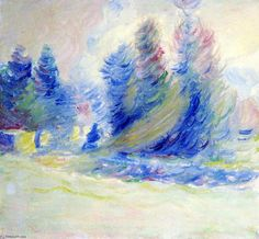 Arbres Giverny, le vent et neige, huile sur toile de Theodore Earl Butler (1861-1936, United States)