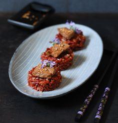 Red rice ponzu beef -  Arroz rojo con ternera y salsa ponzu