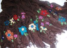 Soft Floral Scarf Hand Painted Beaded  Brown Cotton Gauze Fringed Boho Chic Bohemian Scarves