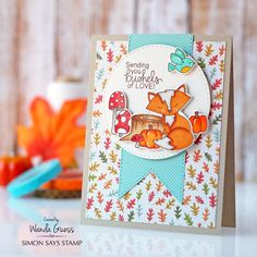 Simon Says Stamp - Stamptember 2016. Newton's Nook Bushels of Love stamp set. Card by Wanda Guess. Copic Markers
